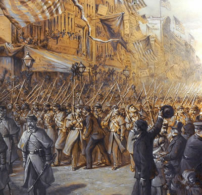 illustration Civil War soldiers in Manhattan