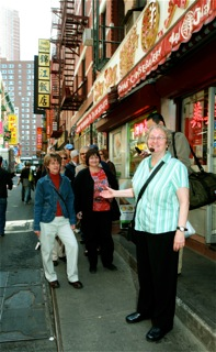 Joyce Gold guiding a tour in Chinatown NYC.