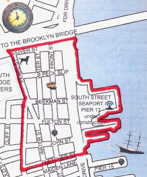 Map of South Street Seaport, NYC