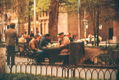 Washington Square Park with chess players
